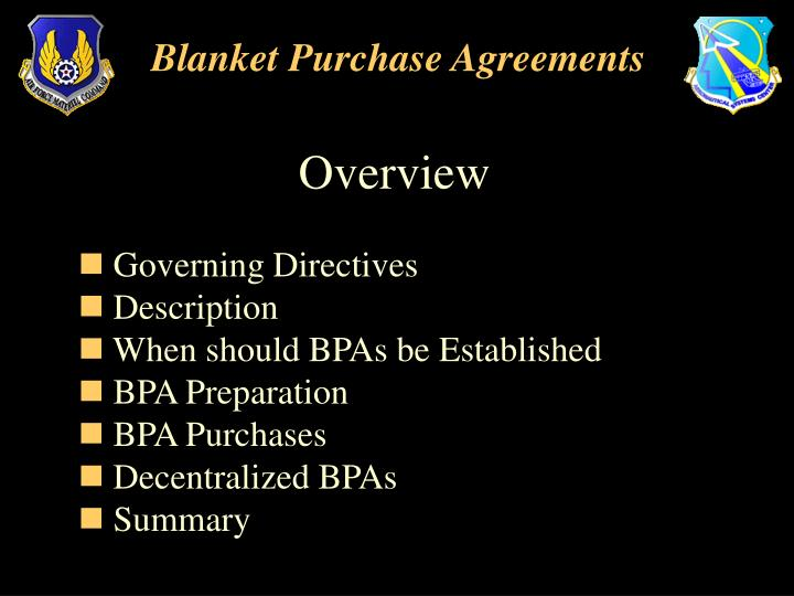PPT - Blanket Purchase Agreements PowerPoint Presentation - ID3785227