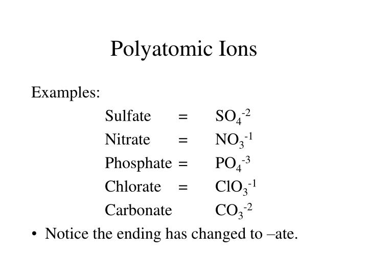 PPT - Polyatomic Ions Writing Formulas / Naming Compounds PowerPoint - poly atomic ions chart