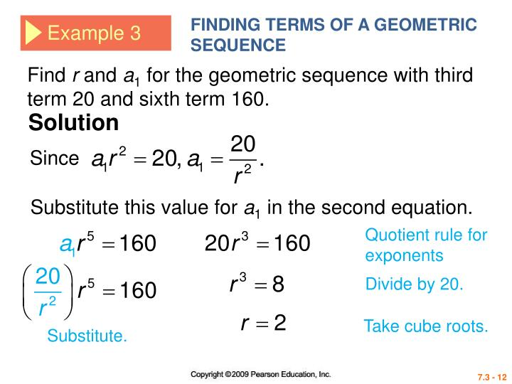 PPT - 4 th EDITION PowerPoint Presentation - ID3903397 - geometric sequence example