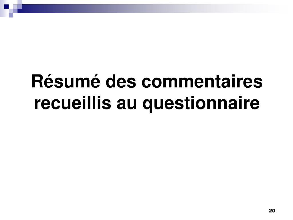 r�sum� de questionnaire