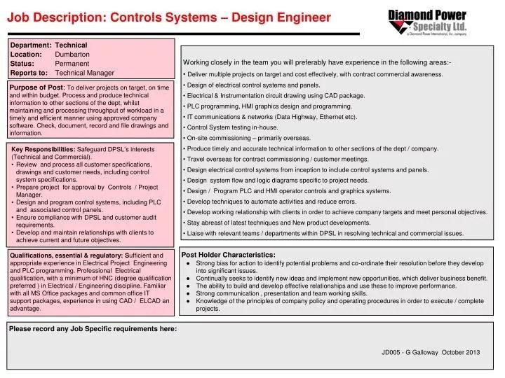PPT - Job Description Controls Systems \u2013 Design Engineer PowerPoint