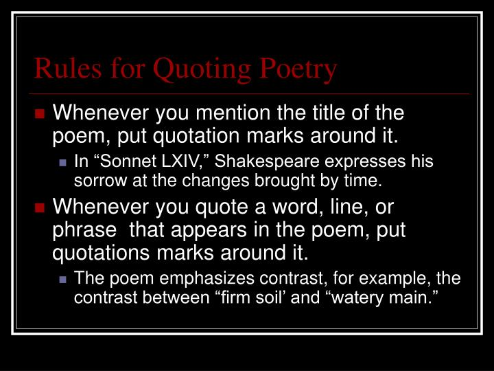 PPT - Quoting Poetry To quote or not to quote? ( That is the