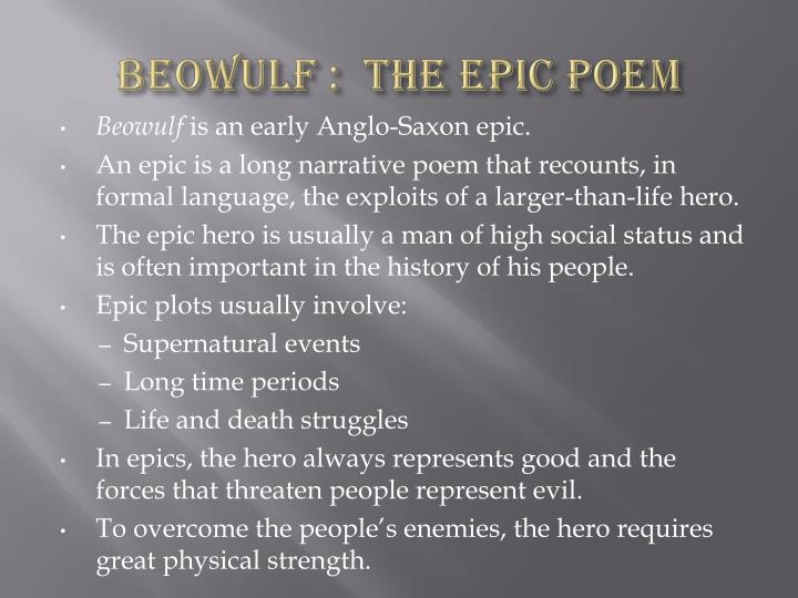Beowulf the epic poem english literature essay College paper