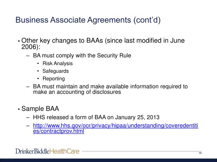 Business Associates Agreement Sample Business Associate Agreement