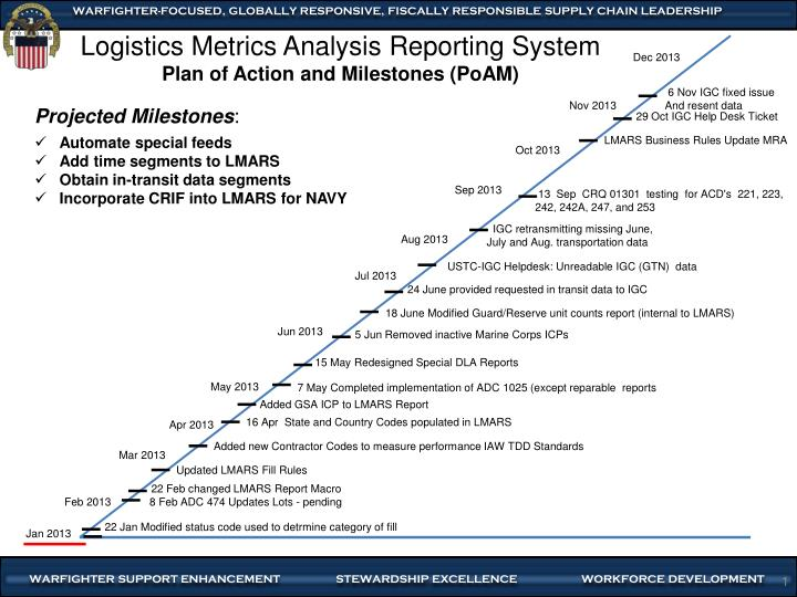 PPT - Logistics Metrics Analysis Reporting System Plan of Action and