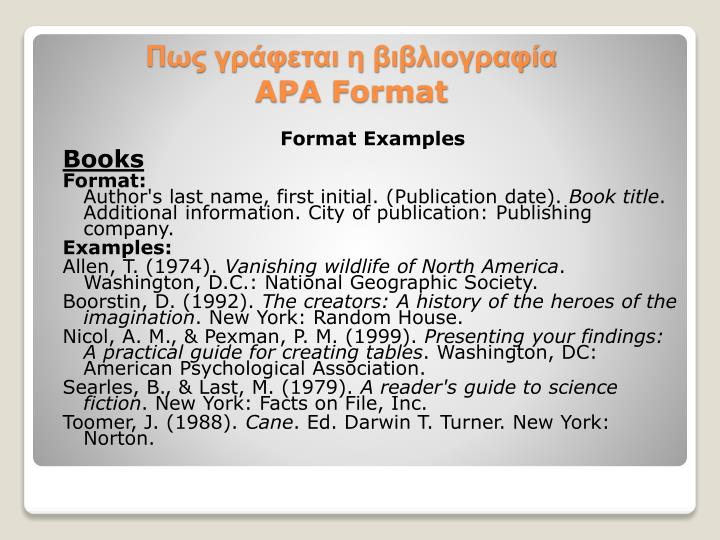 PPT - Πως γράφεται η βιβλιογραφία APA Format PowerPoint Presentation