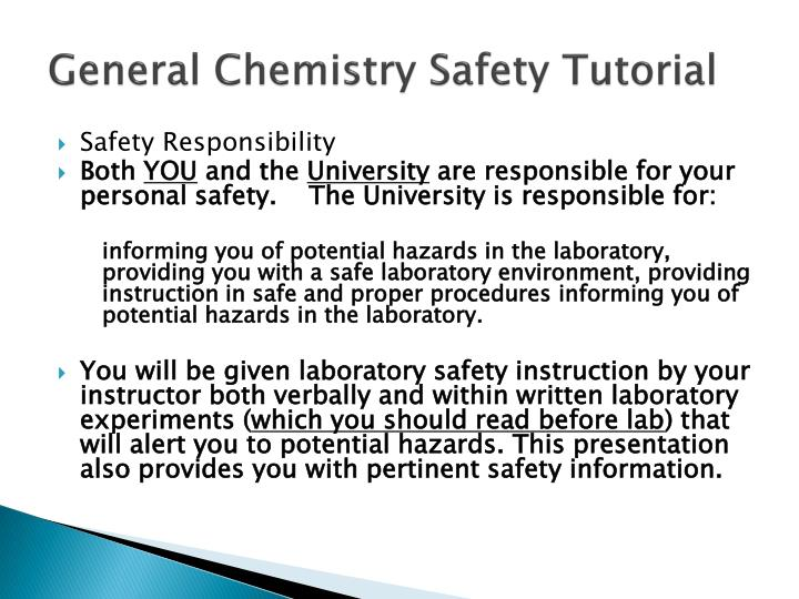 PPT - General Chemistry Safety Tutorial PowerPoint Presentation - ID