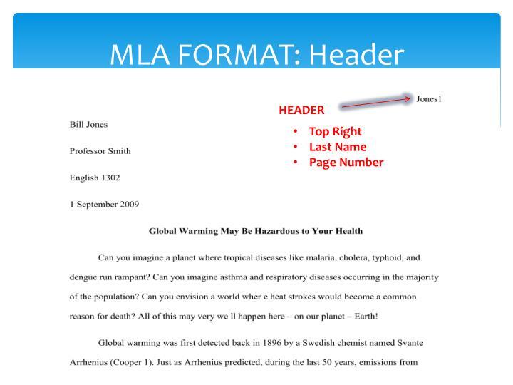 header for mla