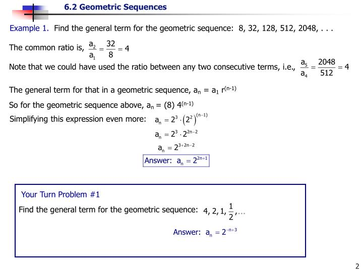 PPT - For a geometric sequence, , for every positive integer k - geometric sequence example