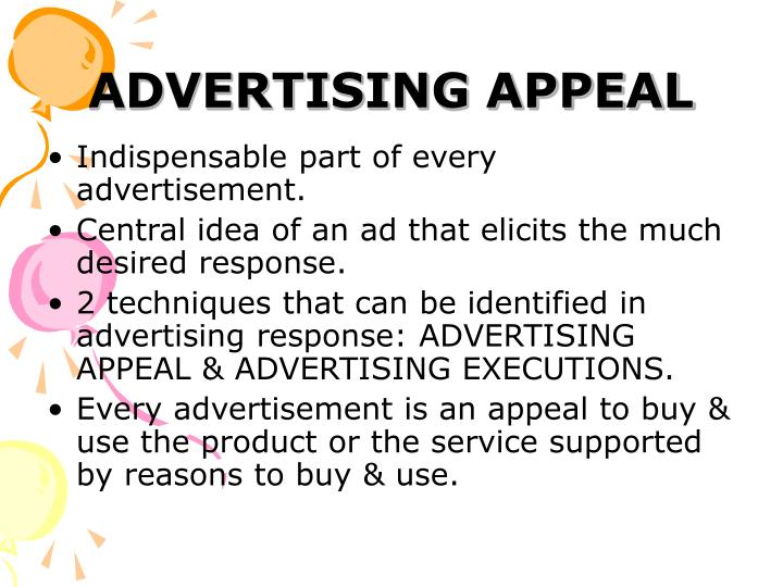 PPT - ADVERTISING APPEALS PowerPoint Presentation - ID5064774