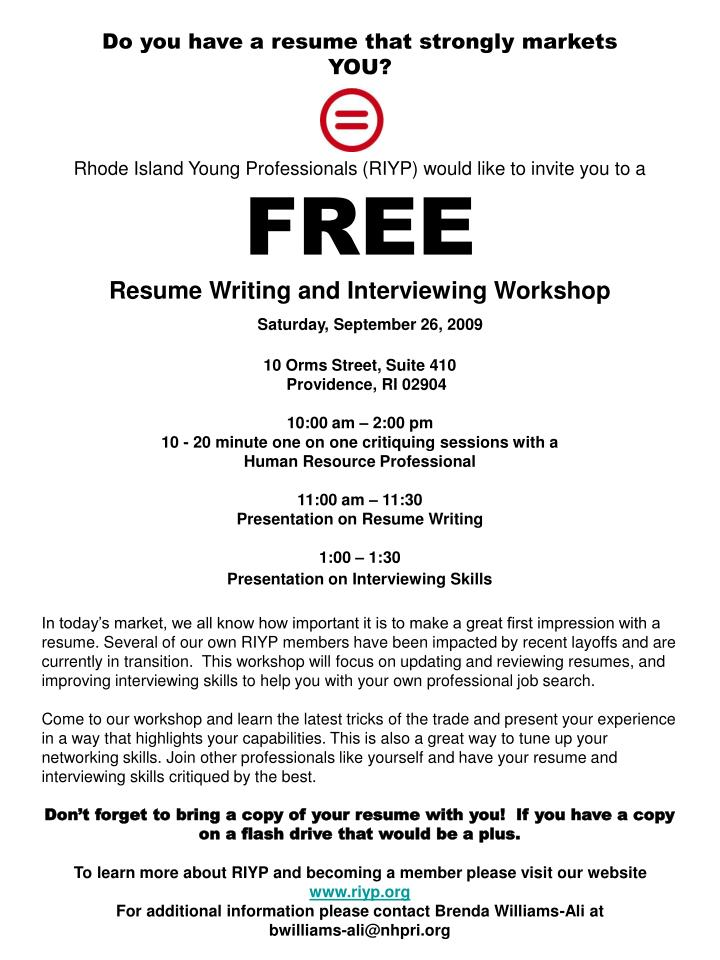 PPT - Resume Workshop flyer PowerPoint Presentation - ID5133528 - networking skills resume