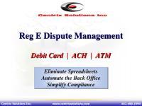 Reg E Debit Card Disputes