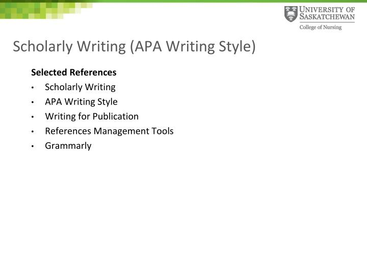 PPT - Scholarly Writing (APA Writing Style) PowerPoint Presentation