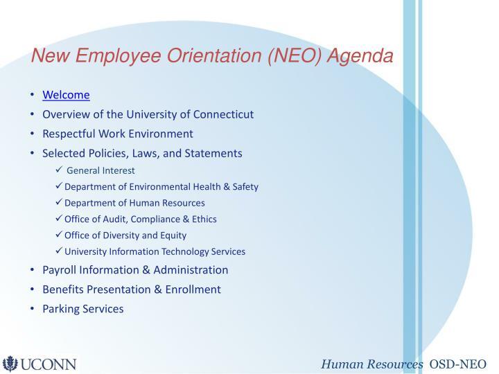 PPT - New Employee Orientation (NEO) Agenda PowerPoint Presentation