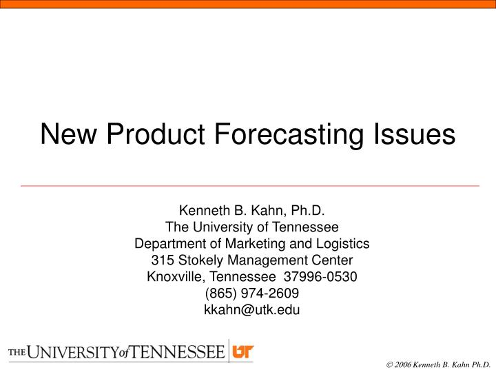 PPT - New Product Forecasting Issues PowerPoint Presentation - ID