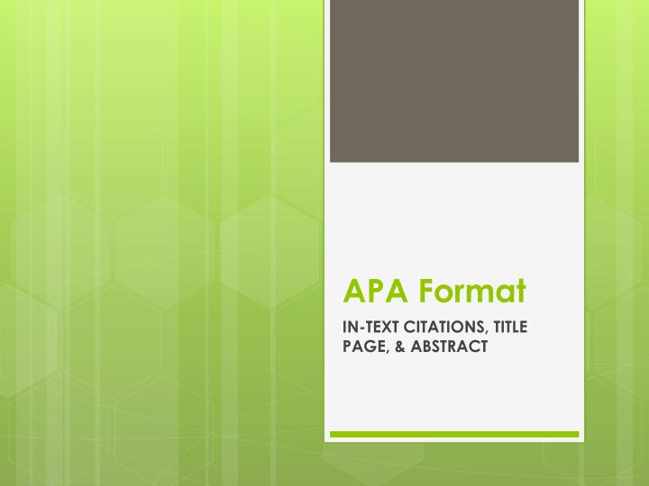 PPT - APA Format PowerPoint Presentation - ID5432407