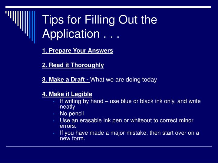PPT - Tips for Filling Out a Job Application PowerPoint Presentation