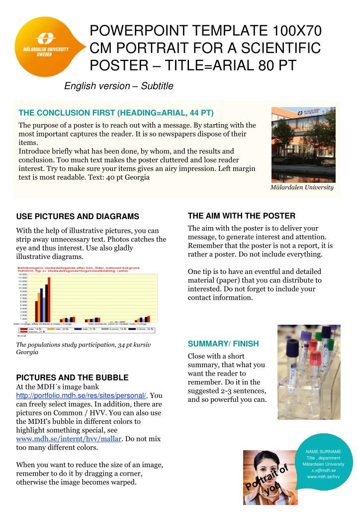 PPT - PowerPoint template 100x70 cm Portrait FOR a scientific poster - how to do a poster in powerpoint