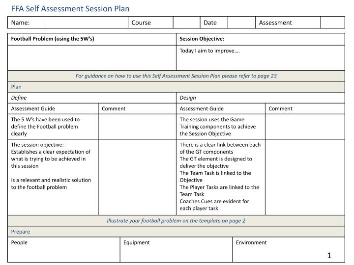 PPT - FFA Self Assessment Session Plan PowerPoint Presentation - ID