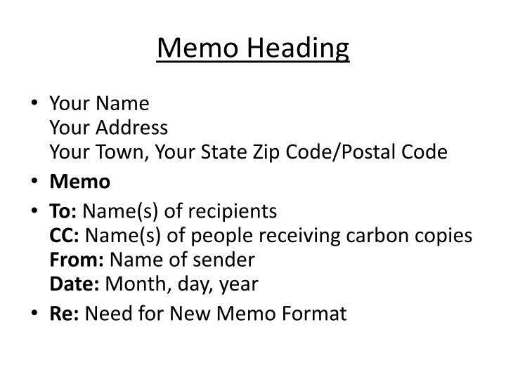 PPT - Memo Writing PowerPoint Presentation - ID5657839