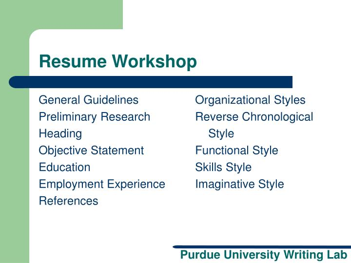 resume writing workshop powerpoint