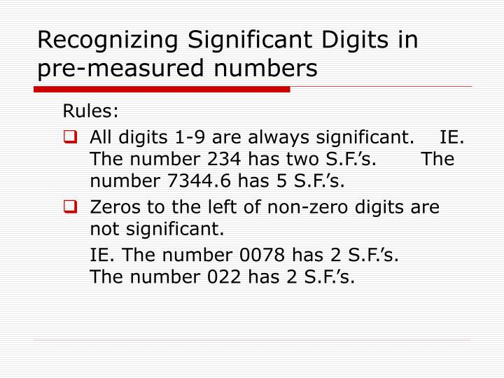 PPT - Significant Figures and working with measurements PowerPoint