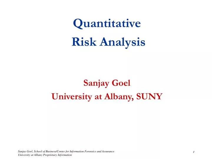 PPT - Quantitative Risk Analysis Sanjay Goel University at Albany - quantitative risk analysis