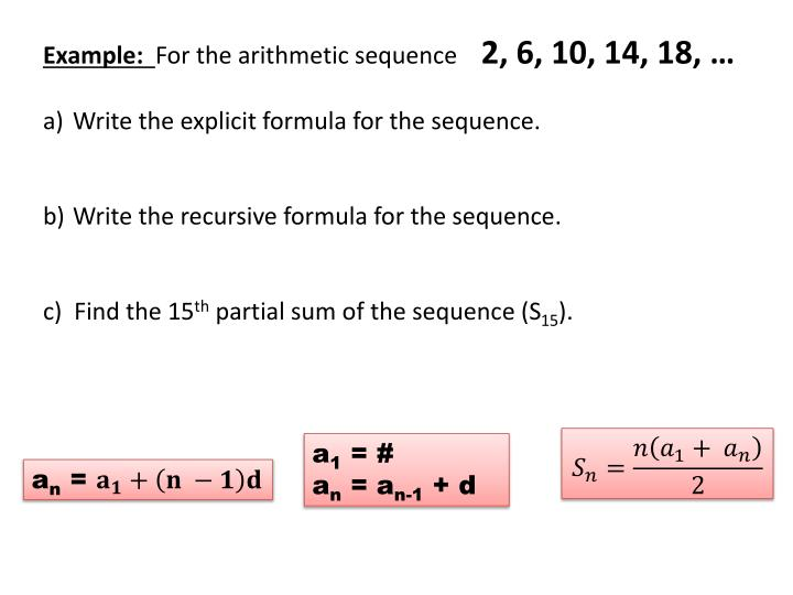 PPT - Arithmetic Sequences Sequence is a list of numbers typically - arithmetic sequence example