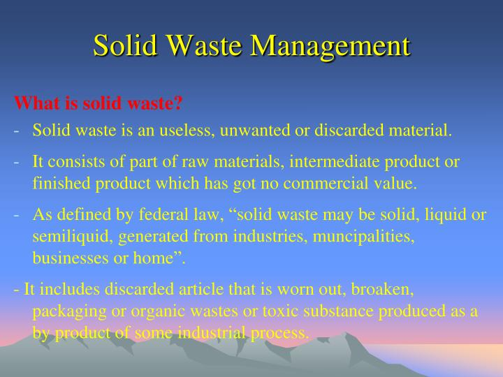 PPT - Solid Waste Management PowerPoint Presentation - ID5881959 - waste management ppt