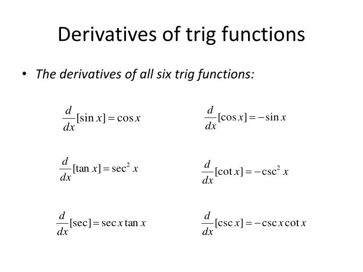 PPT - Derivatives of Trig Functions PowerPoint Presentation - ID6015607