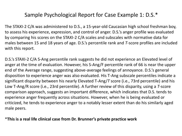 PPT - Sample Psychological Report for Case Example 1 DS