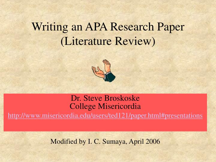 PPT - Writing an APA Research Paper (Literature Review) PowerPoint