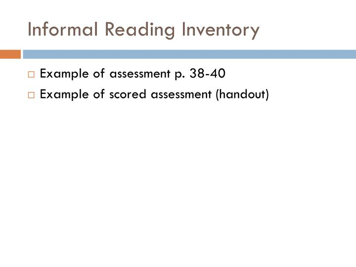 PPT - Assessment Identifying levels Administering and scoring an