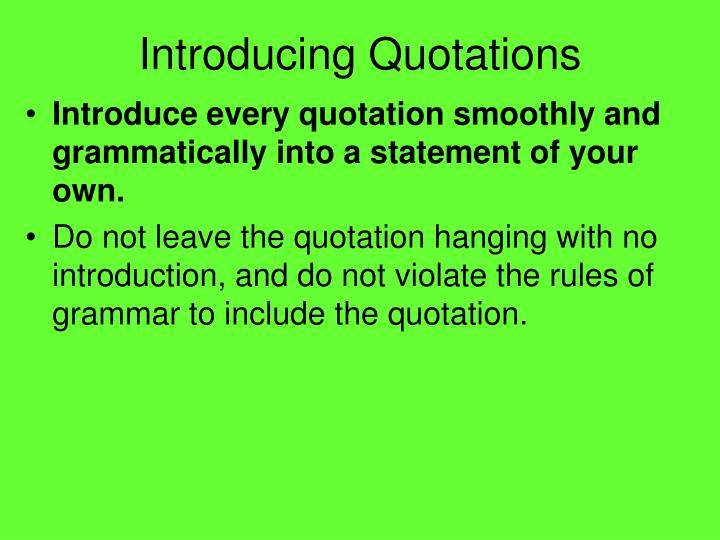 PPT - Introducing Quotations PowerPoint Presentation - ID6310866