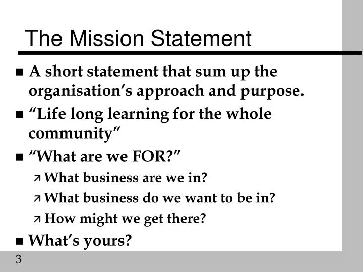 PPT - Aims and Objectives, Mission Statements PowerPoint - short mission statements