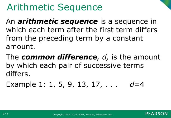 PPT - Section 57 Arithmetic and Geometric Sequences PowerPoint