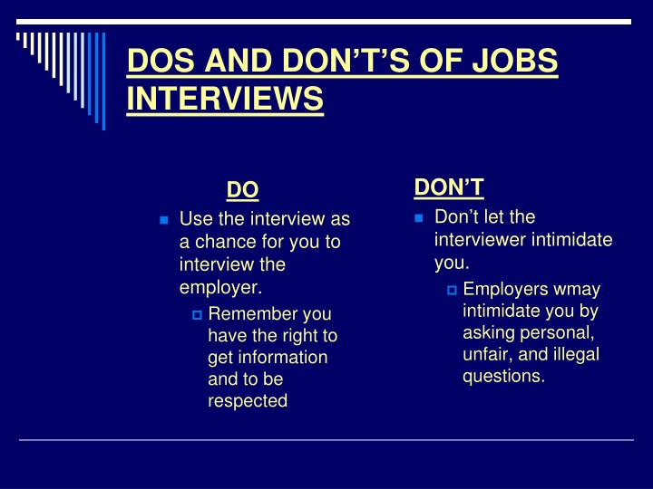 PPT - DOS AND DON\u0027T\u0027S OF JOBS INTERVIEWS PowerPoint Presentation