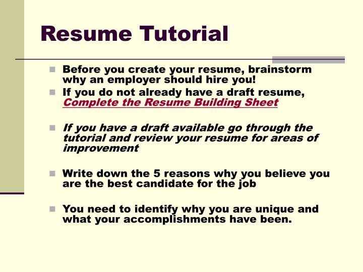 PPT - Resume Tutorial PowerPoint Presentation - ID6595569