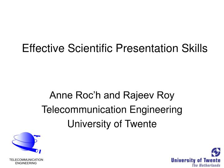 PPT - Effective Scientific Presentation Skills PowerPoint