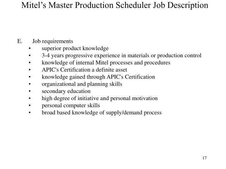 Production Scheduler Job Description - staruptalent - - master scheduler job description