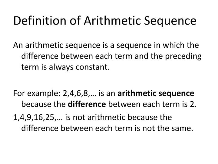 PPT - Section 112 Arithmetic Sequences PowerPoint Presentation - ID