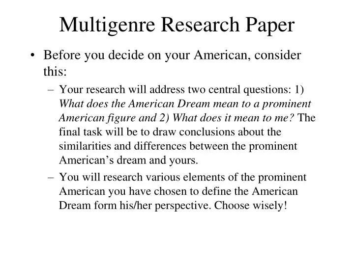 PPT - Multigenre Research Paper PowerPoint Presentation - ID6882759