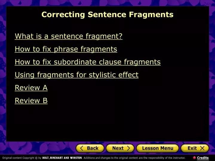 PPT - Correcting Sentence Fragments PowerPoint Presentation - ID6902021