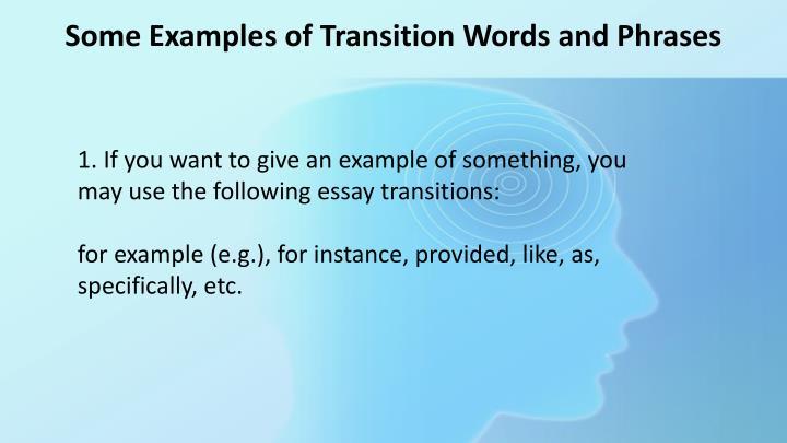 Transitions for argumentative essays