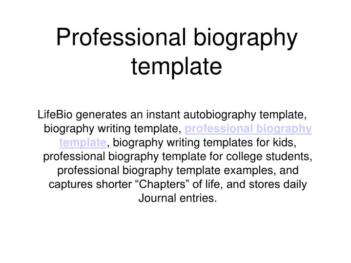 PPT - Professional biography template PowerPoint Presentation - ID