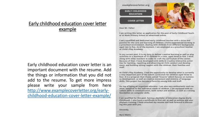 PPT - Early childhood education cover letter example PowerPoint