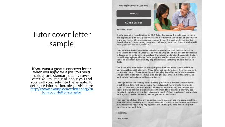 PPT - Tutor cover letter sample PowerPoint Presentation - ID7257567