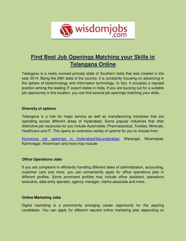 PPT - Find Best Job Openings Matching your Skills in Telangana
