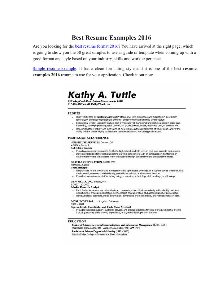 PPT - Best Resume Examples 2016 PowerPoint Presentation - ID7284828