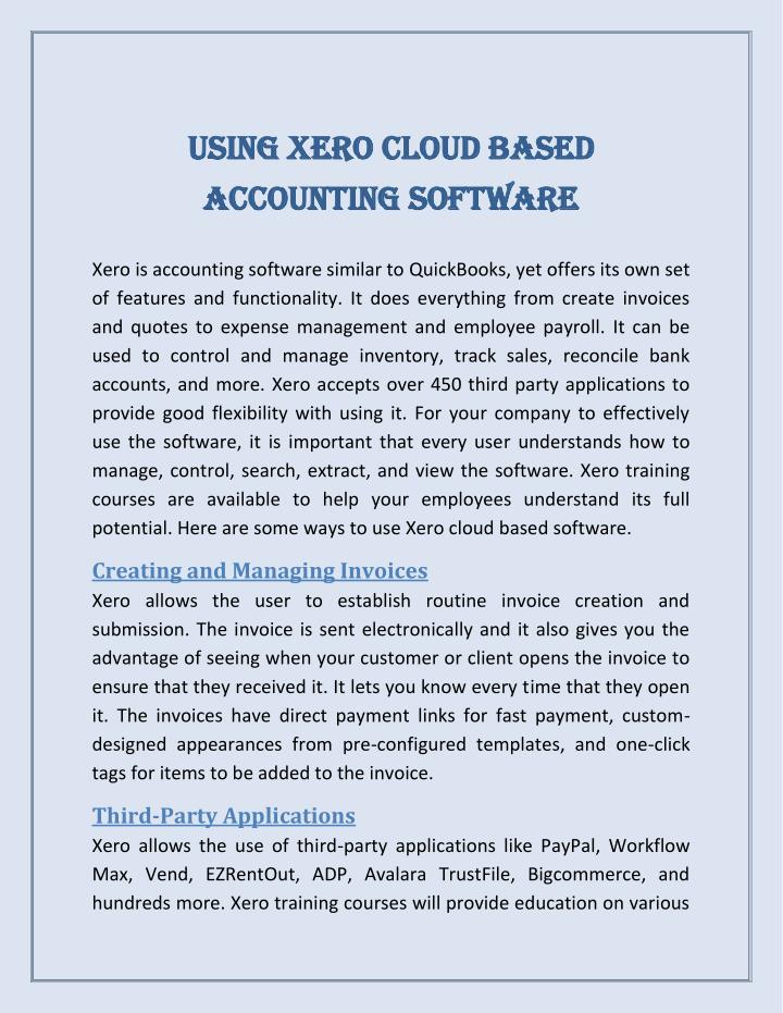 Cloud Based Sales Management Software Ppt - Using Xero Cloud Based Accounting Software